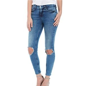 Free People Skinny Busted Knee Jeans